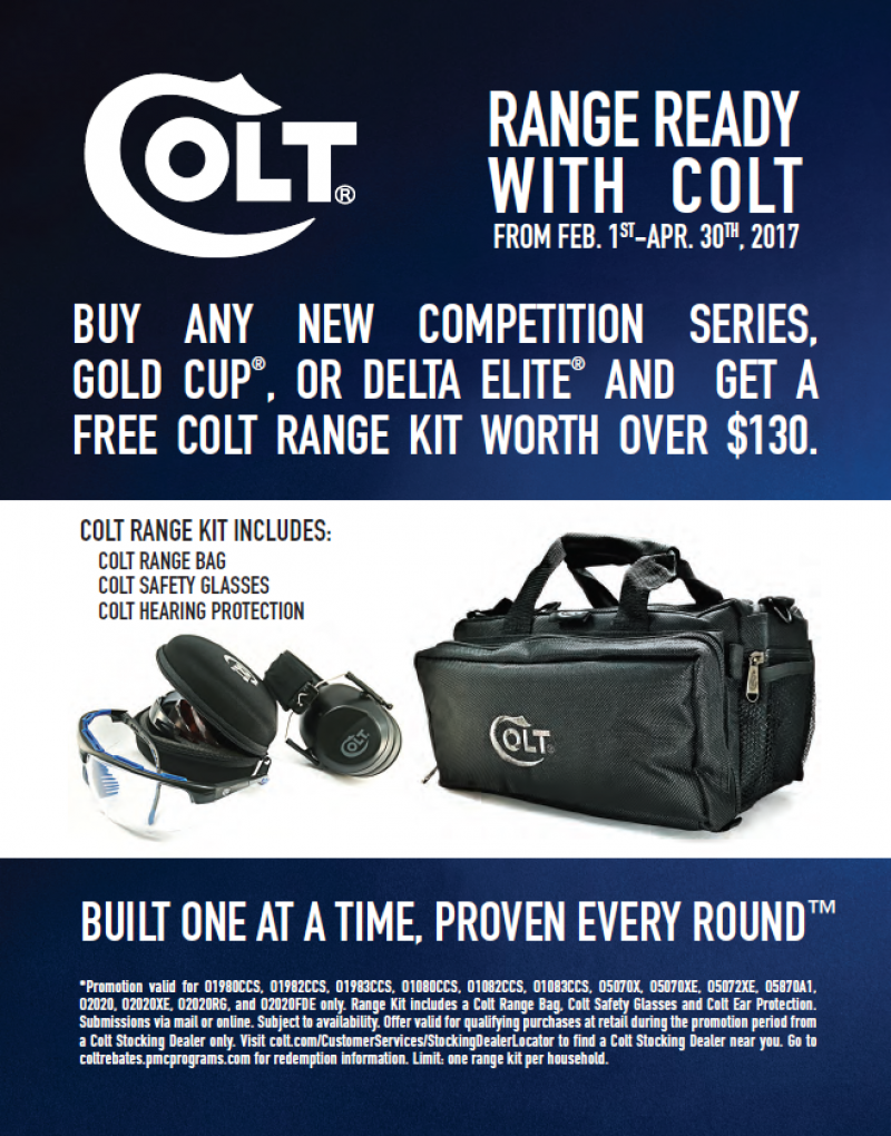 Free Colt Range Kit with any Competition Series, Gold Cup or Delta Elite. 2-1 thru 4-30-17