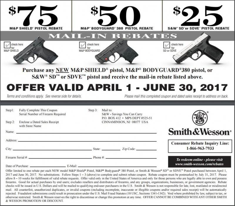 Smith & Wesson $75 Consumer Rebate on All New M&P Shield pistols