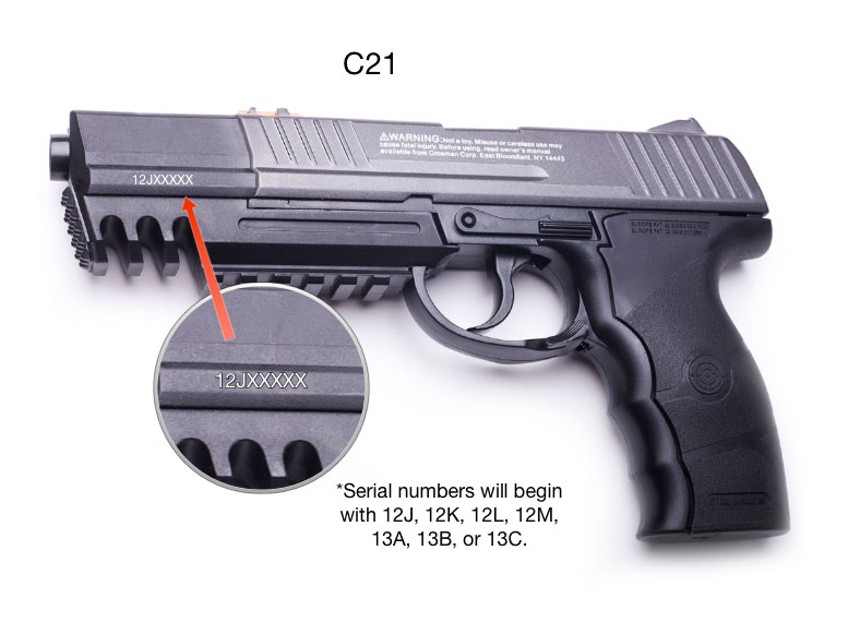Crosman Corp is recalling about 16,000 C21, C31, and 9-C31BRM air pistols.