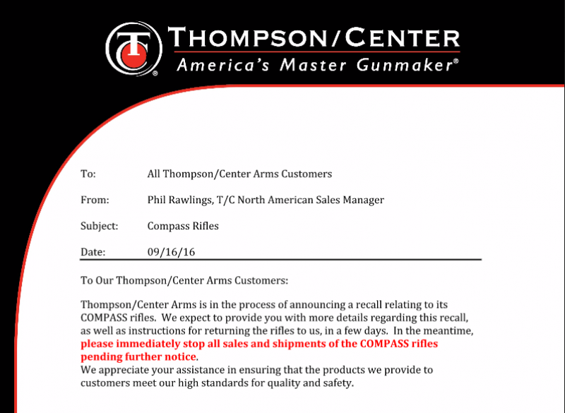 Thompson/Center Issues Recall on Compass Rifles 9-16-16
