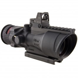 Trijicon 6x48 ACOG Riflescope, Dual Illuminated Red Chevron .308 Reticle w/ Colt Knob Thumbscrew Mount & LED 6.5 MOA Red Dot RMR Type 2, Black, 100560