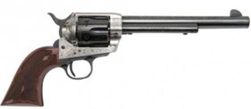 Cimarron Frontier Silver Frame Laser Engraved Revolver Old Silver .45 LC 7.5 inch