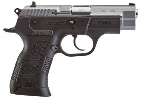 """Sarsilmaz B6C Compact Semi Auto Pistol 9mm Luger 3.8"""" Barrel 13 Rounds Fixed Sights Manual Thumb Safety External Hammer Polymer Frame Black Finish Stainless Steel Slide"""