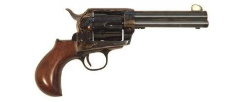 "Cimarron Frontier Revolver .45 Long Colt 4.75"" Barrel 6 Rounds Wood Birdshead Grips Case Hardened Finish"
