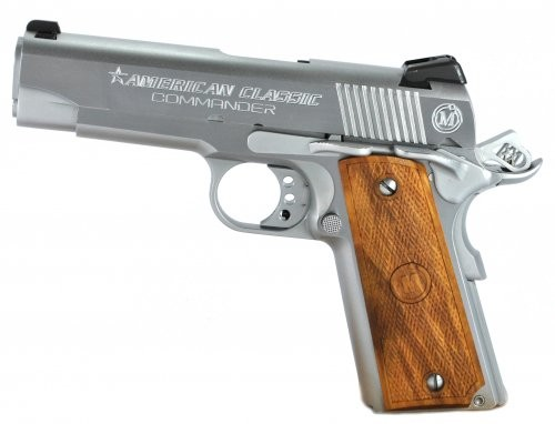 American Classic Commander Chrome/Wood .45ACP 4.25-inch 8rd